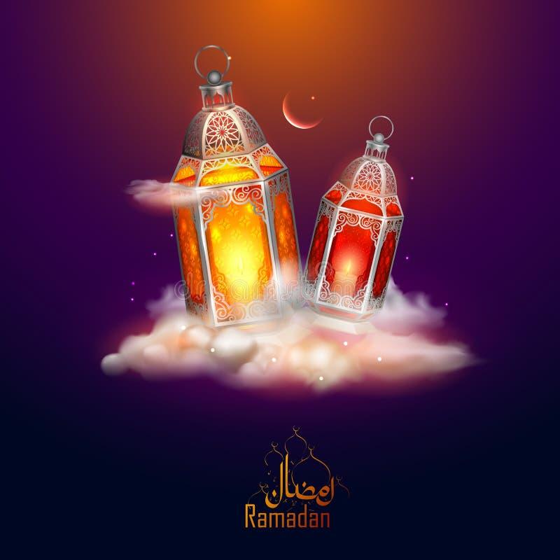Приветствия Рамазана Kareem великодушные Рамазана для религиозного праздника Eid ислама с загоренной лампой иллюстрация штока