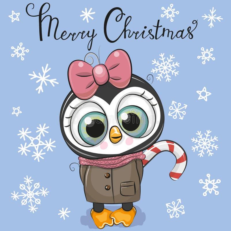 Приветствовать девушку пингвина мультфильма рождественской открытки на голубой предпосылке бесплатная иллюстрация