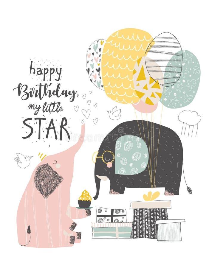 Приветствовать поздравительую открытку ко дню рождения с милыми слонами и воздушными шарами бесплатная иллюстрация