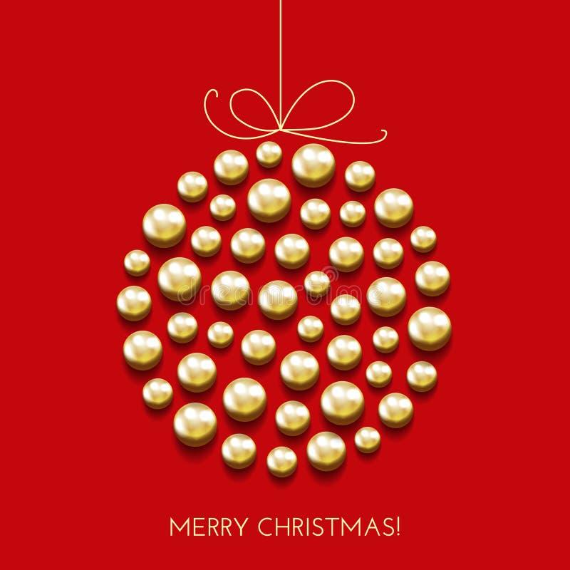 Приветствовать рождественскую открытку с шариком оформления и знаменем праздника иллюстрация вектора