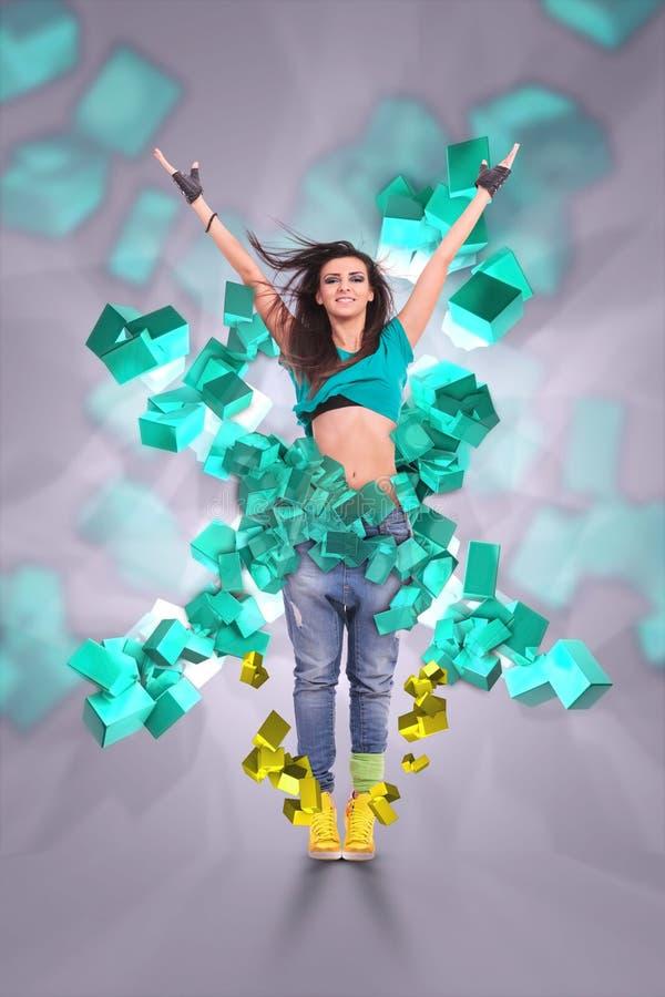 Приветствовать танцора молодой женщины стоковые фото
