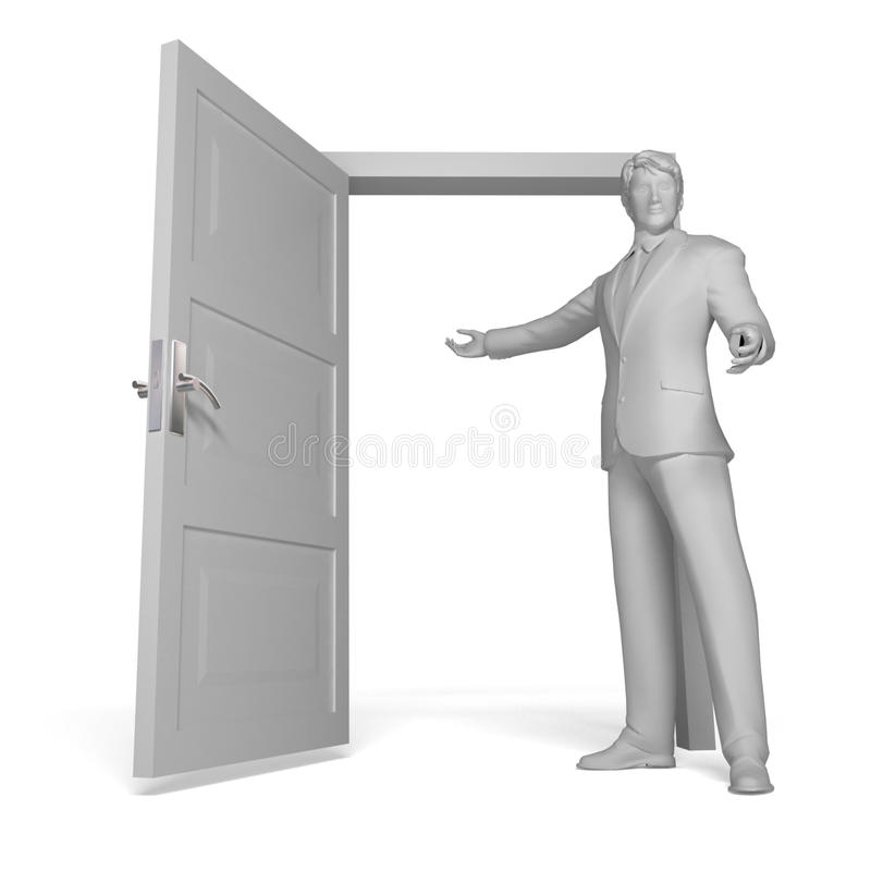 приветствовать человека двери открытый бесплатная иллюстрация