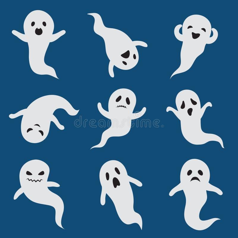 привидения страшные Изолированные характеры милого boohoo вектора силуэта призрака хеллоуина белого призрачные иллюстрация штока