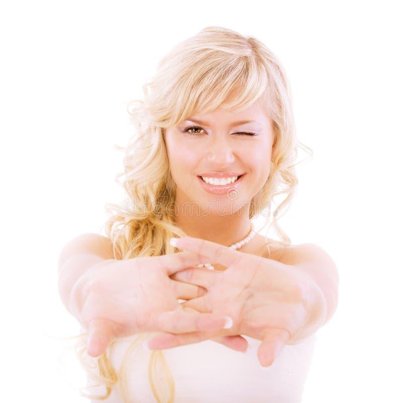 привлекает руку невесты пышную стоковые фотографии rf