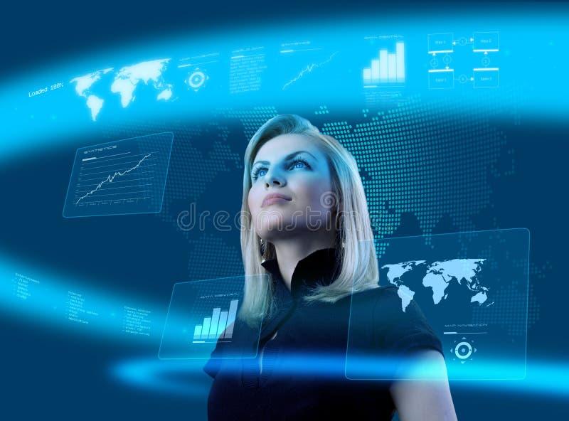 привлекательная белокурая футуристическая женщина интерфейса стоковое изображение rf