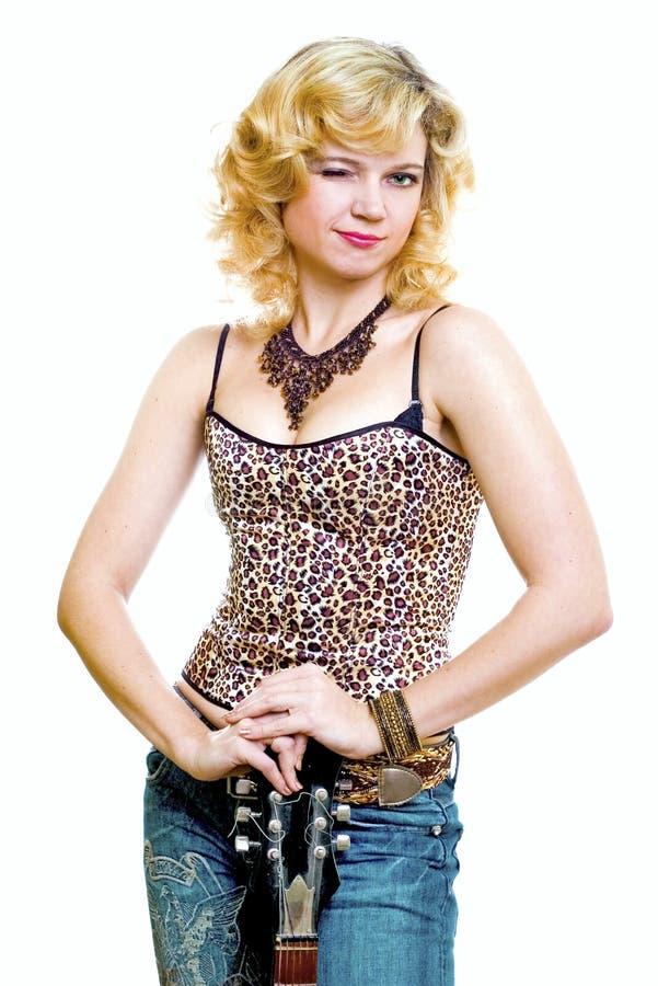 Привлекательная блондинка с избирать стоковое изображение rf