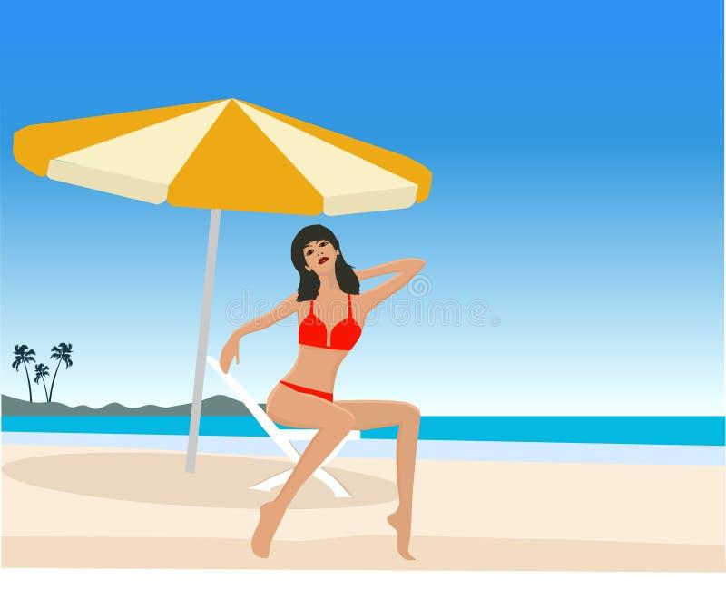 привлекательная девушка пляжа иллюстрация вектора