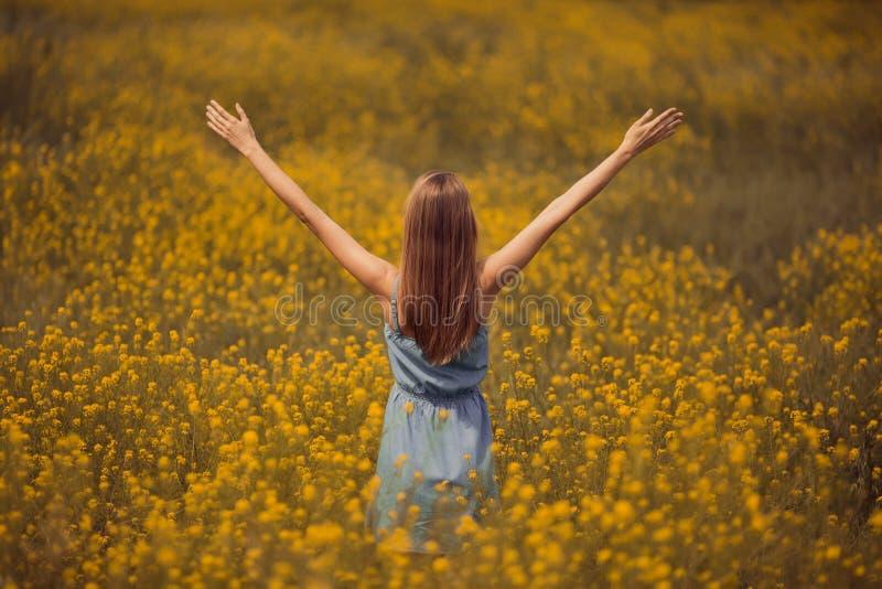 привлекательная женщина в платье на поле цветка стоковая фотография