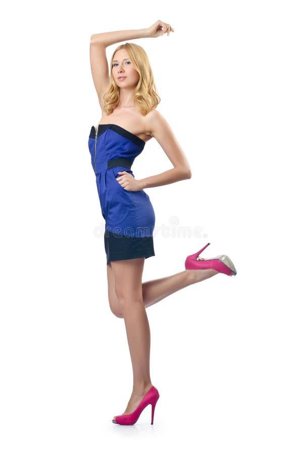 Привлекательная женщина на белизне стоковое изображение