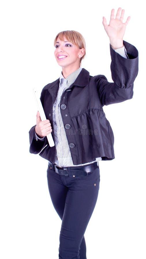Привлекательная коммерсантка с гулять тетради стоковое фото rf