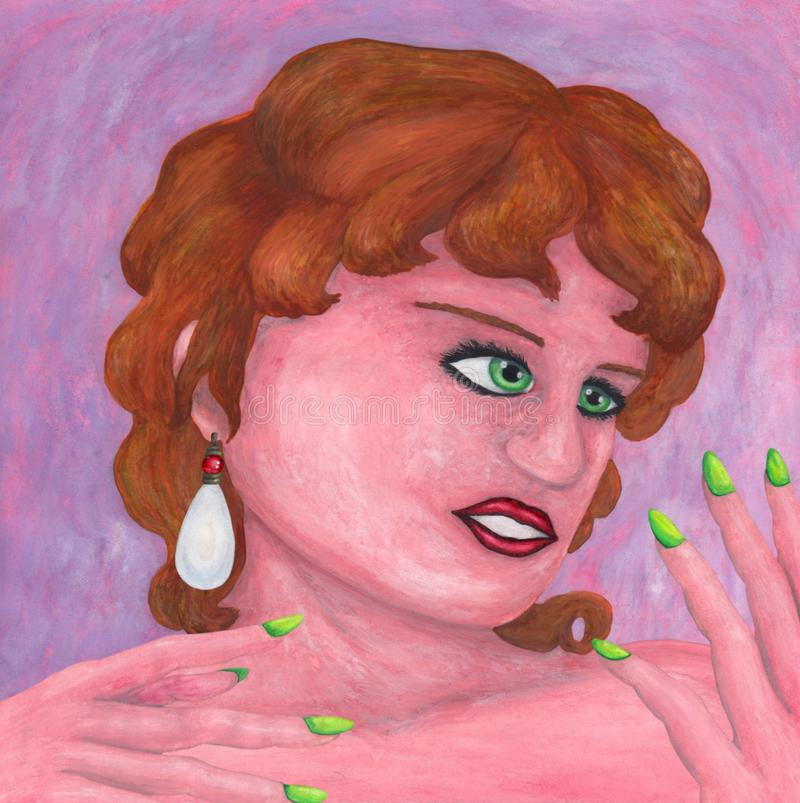 Привлекательная энигматичная молодая женщина нося большую серьгу жемчуга и наблюдая ее руки бесплатная иллюстрация