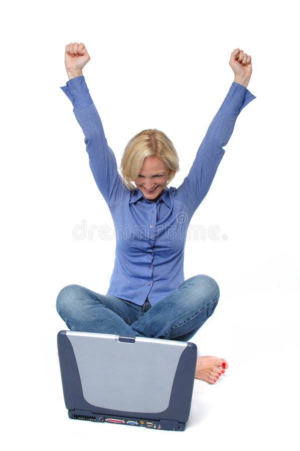 привлекательное белокурое excited стоковое фото
