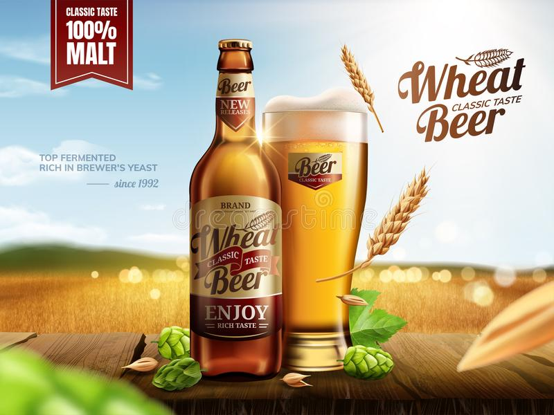 Привлекательное пиво пшеницы стеклянной бутылки иллюстрация вектора