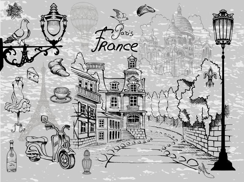 Привлекательности и детали восхитительного шарма Парижа иллюстрация штока