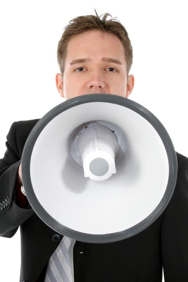 привлекательные детеныши бизнесмена портативного магнитофона стоковые изображения rf