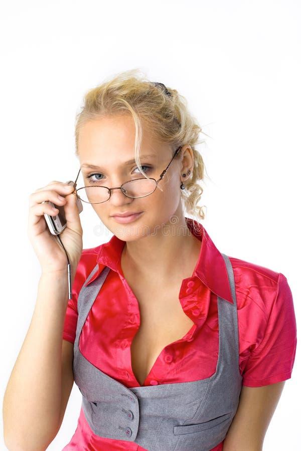 привлекательные стекла смотрят женщину вы молодые стоковое фото rf