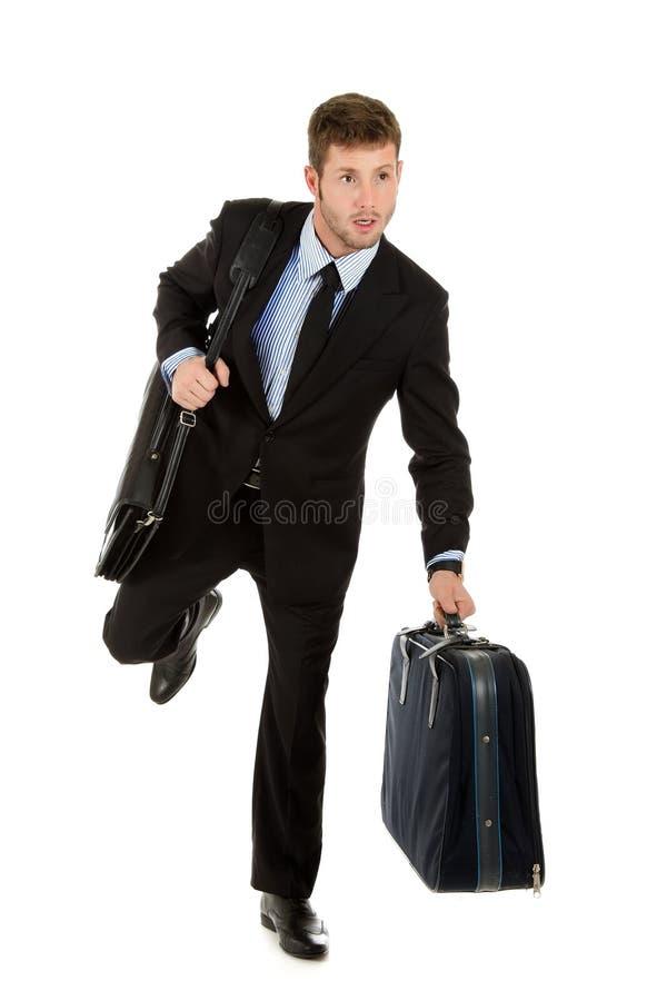 привлекательный бизнесмен бежит детеныши стоковое изображение rf