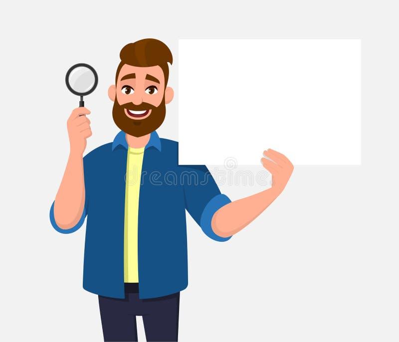 Привлекательный бородатый показ молодого человека/лист лупа удержания и пробел/пустые плакат, бумага или в руке Ищите, находите, бесплатная иллюстрация