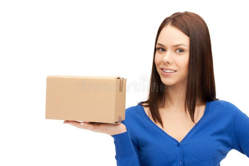 привлекательный картон коммерсантки коробки стоковое изображение rf