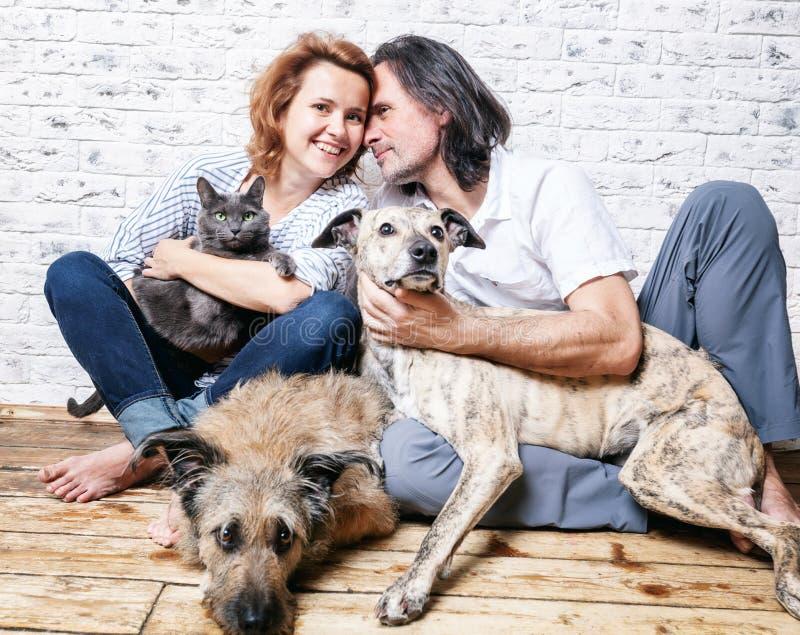 Привлекательный человек и его молодая жена с любимчиками, 2 собаками и котом, стоковая фотография rf