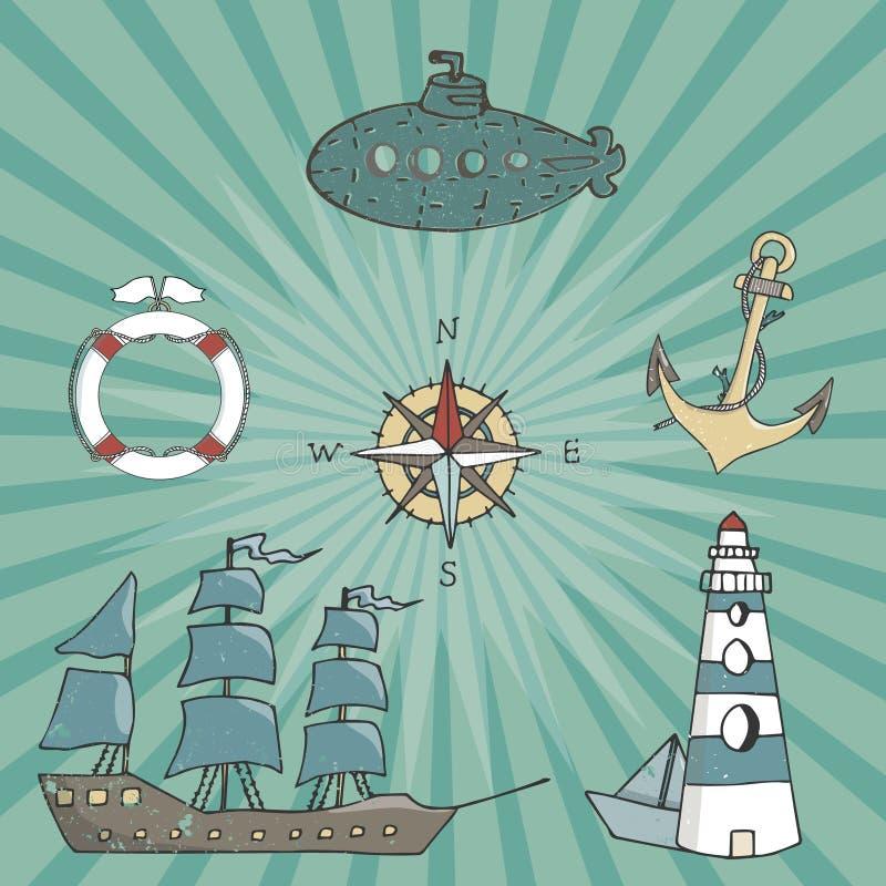 Привода капитана пирата корабля чертежа цвета вектора парусного судна геометрические элементы ленты коричневого голубого винтажно бесплатная иллюстрация