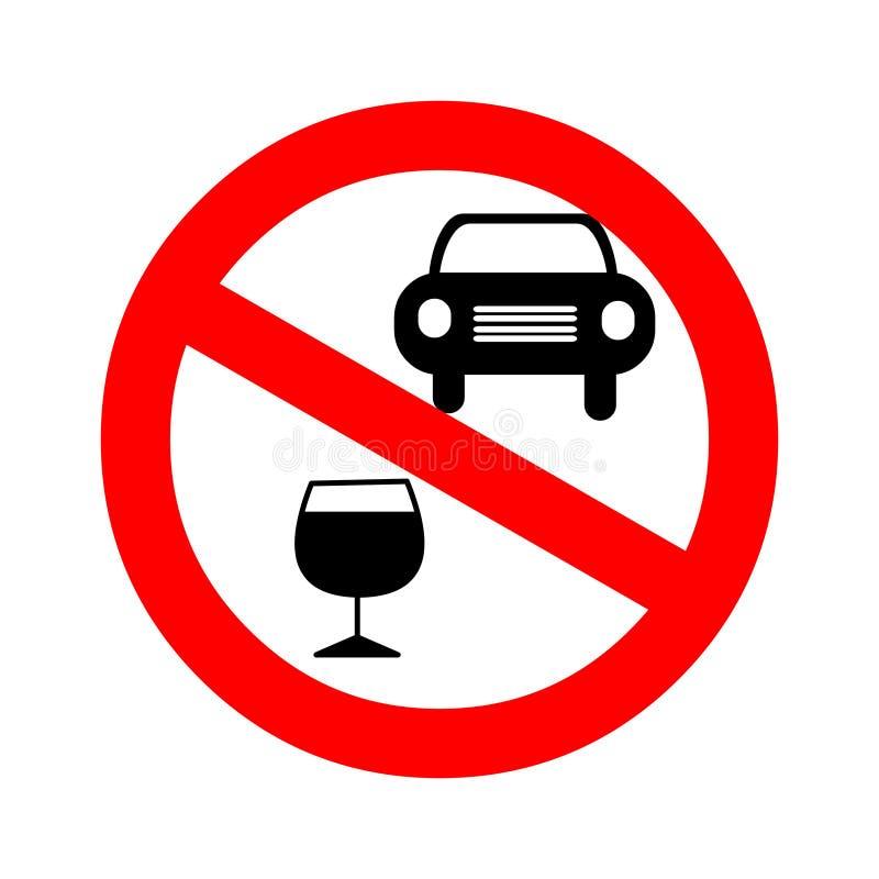 привод питья спирта отсутствие вектора символа плаката Иллюстрация вектора надевает питье ` t и управляет иллюстрация штока