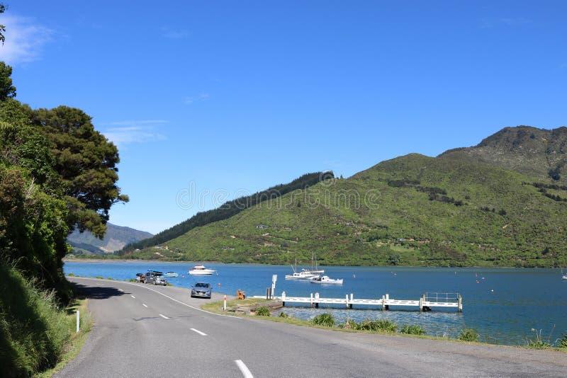 Привод ферзя Шарлотты, остров NZ сценарной дороги южный стоковые фото