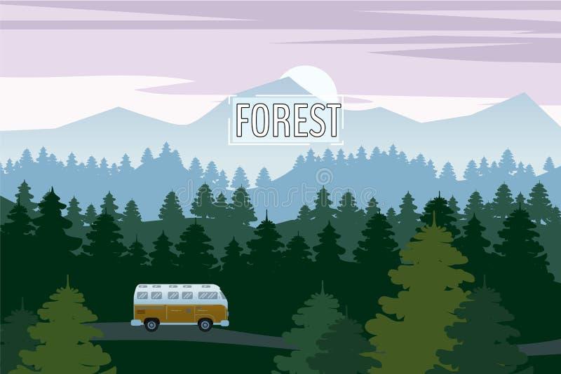 Привод шоссе с красивым елевым ландшафтом леса Управлять лета перемещения приключения привода шоссе горизонт гор бесплатная иллюстрация