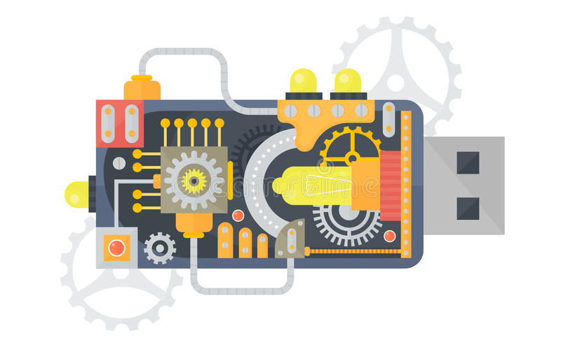 Привод вспышки USB Steampunk винтажный с различными малыми шестернями и лампами внутрь также вектор иллюстрации притяжки corel иллюстрация штока