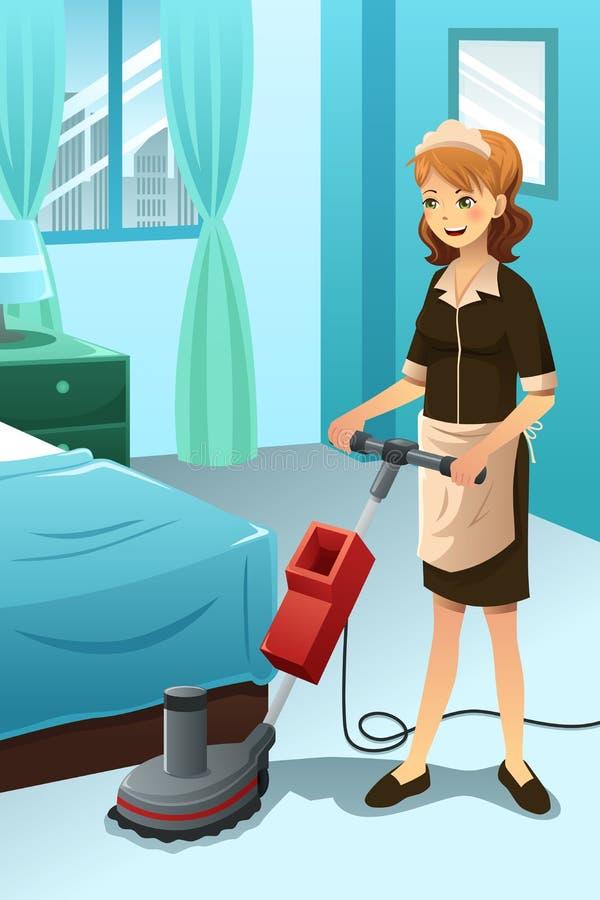 Привратник гостиницы убирая гостиничный номер бесплатная иллюстрация