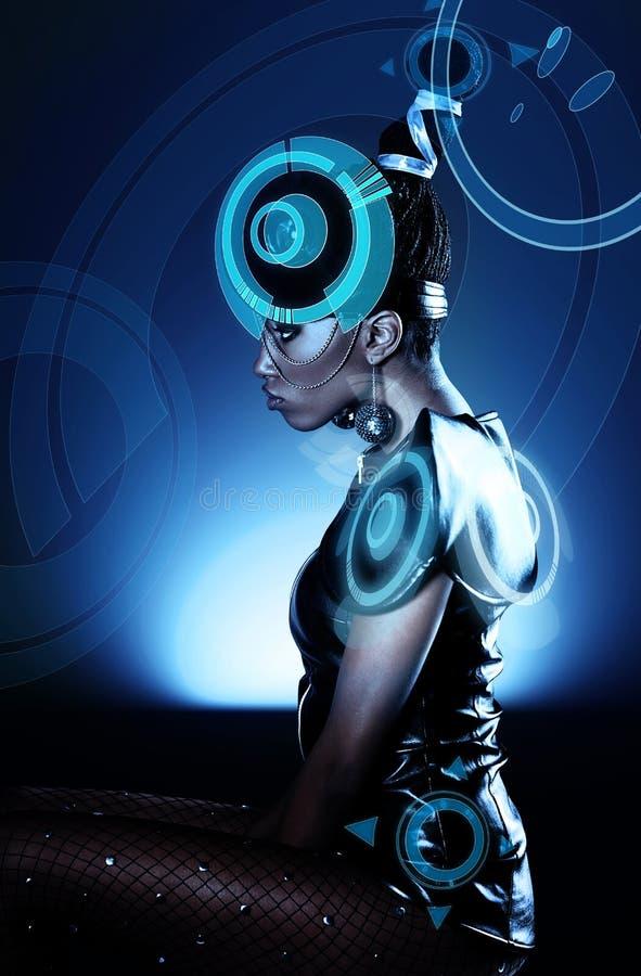 Привлекательная африканская женщина с hologram стоковое фото rf