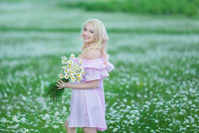 Привлекательная блондинка в поле стоцвета Молодая женщина в венке окруженном стоцветами нося стильное розовое платье наслаждаясь  стоковая фотография