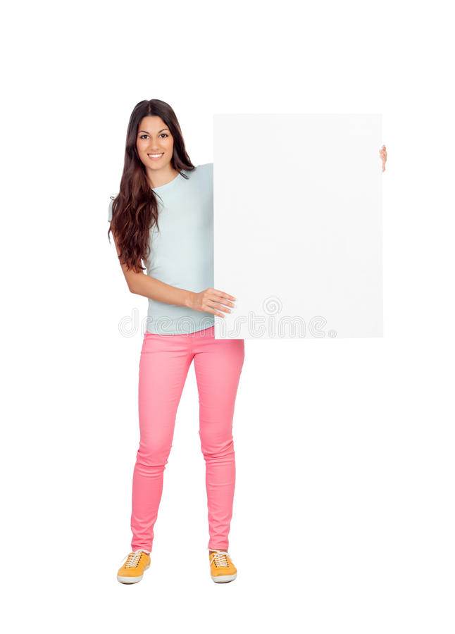 Download Привлекательная девушка с пустым плакатом Стоковое Фото - изображение насчитывающей вскользь, удерживание: 33733412