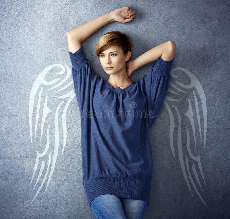 Привлекательная женщина с крылами ангела стоковое фото rf