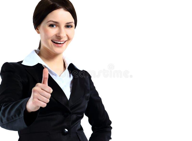 Привлекательная молодая женщина дела с большим пальцем руки вверх стоковые фото