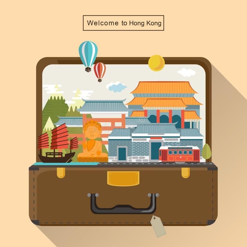 Привлекательности перемещения Гонконга иллюстрация штока