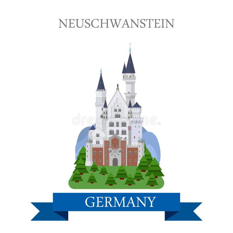 Привлекательность вектора Германии Баварии замка Нойшванштайна плоская иллюстрация вектора