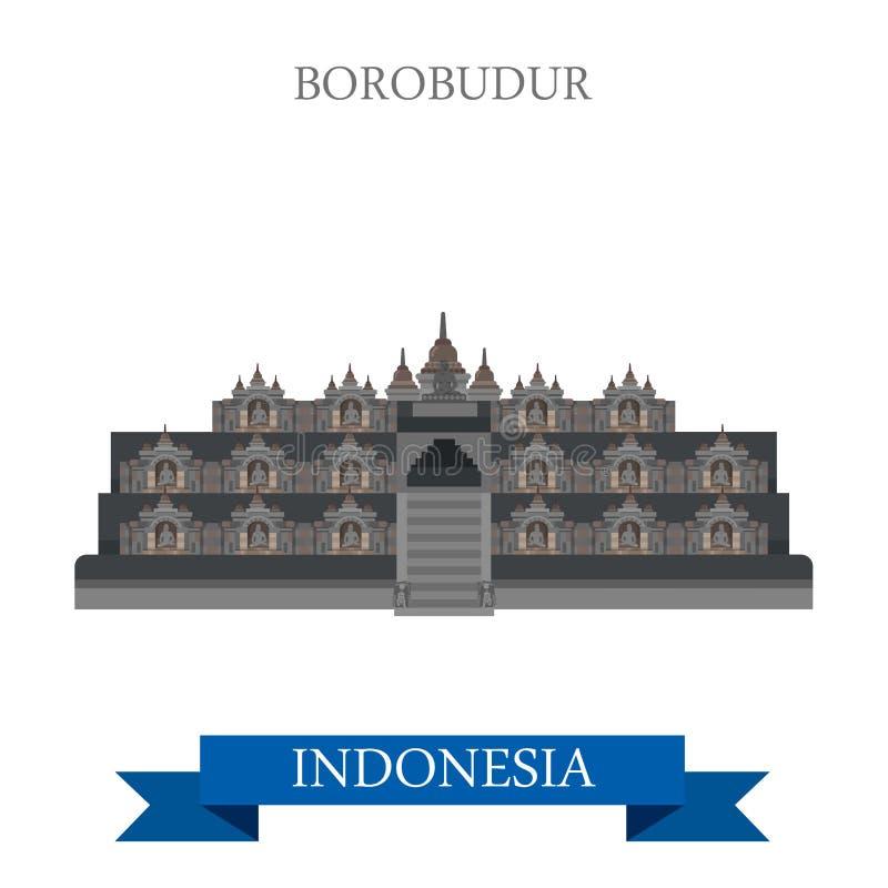 Привлекательность вектора Индонезии буддийского виска Borobudur Barabudur иллюстрация штока
