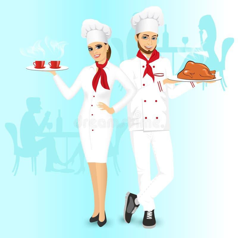 Привлекательные шеф-повара человека и женщины иллюстрация вектора