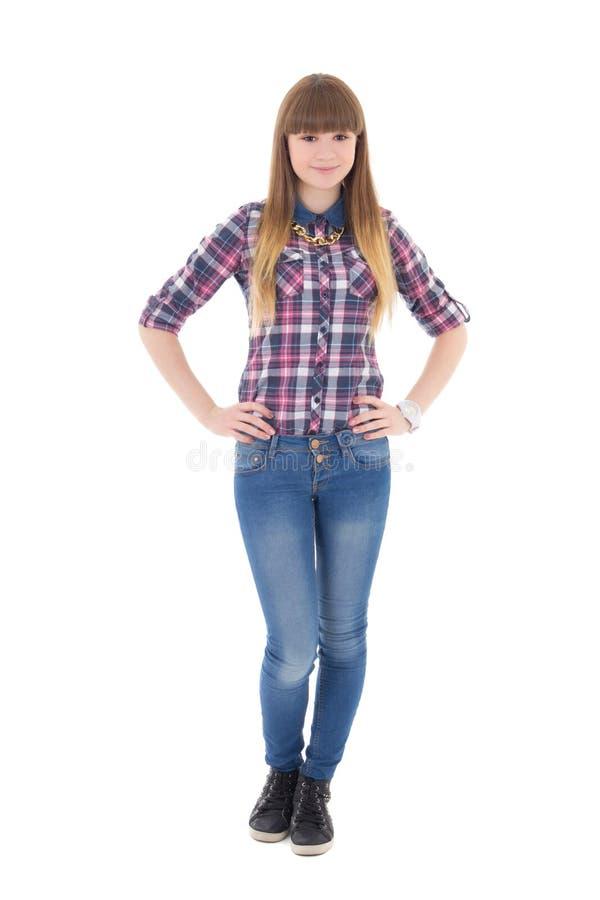 Привлекательный девочка-подросток изолированный на белизне стоковое фото rf