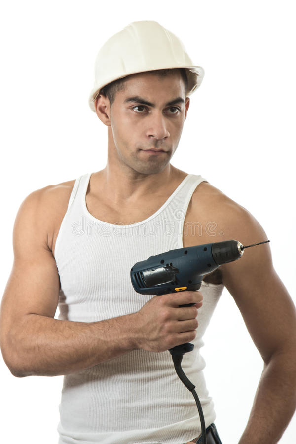 Человек с сверлом стоковая фотография rf