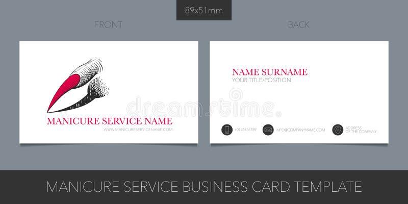 Пригвоздите обслуживание, шаблон визитной карточки вектора салона маникюра с корпоративным логотипом иллюстрация вектора