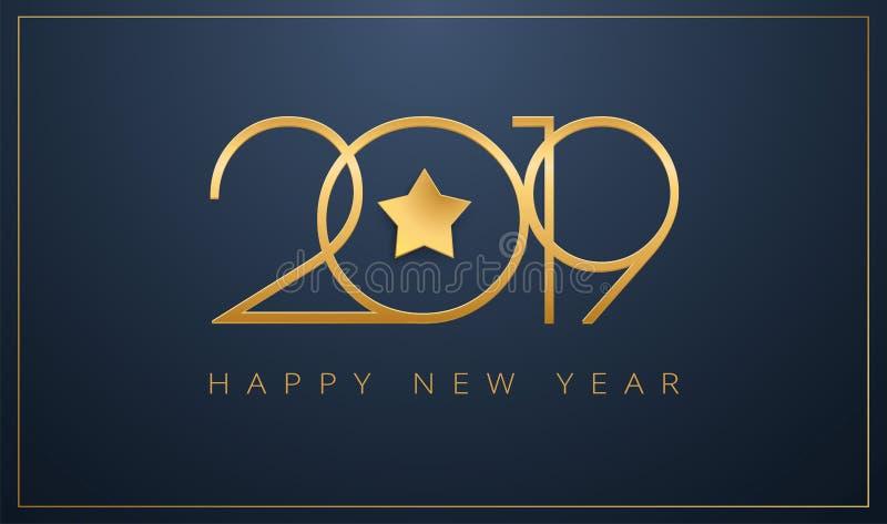 Пригладьте счастливый дизайн звезды поздравительной открытки Нового Года 2019 золотой для c бесплатная иллюстрация