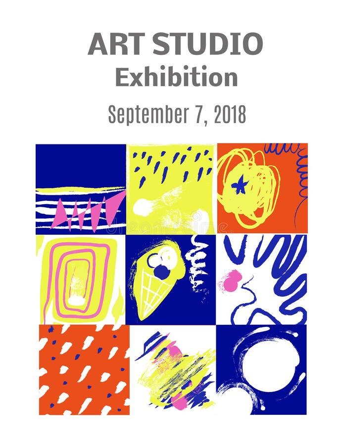 Приглашение выставки картин современного искусства - конструируйте с изображениями и планом текста также вектор иллюстрации притя иллюстрация вектора