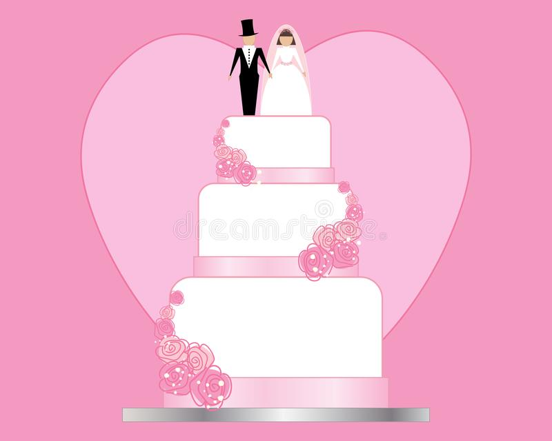 Приглашение дня свадьбы с розовой предпосылкой сердца и белый свадебный пирог с украшением жениха и невеста иллюстрация вектора