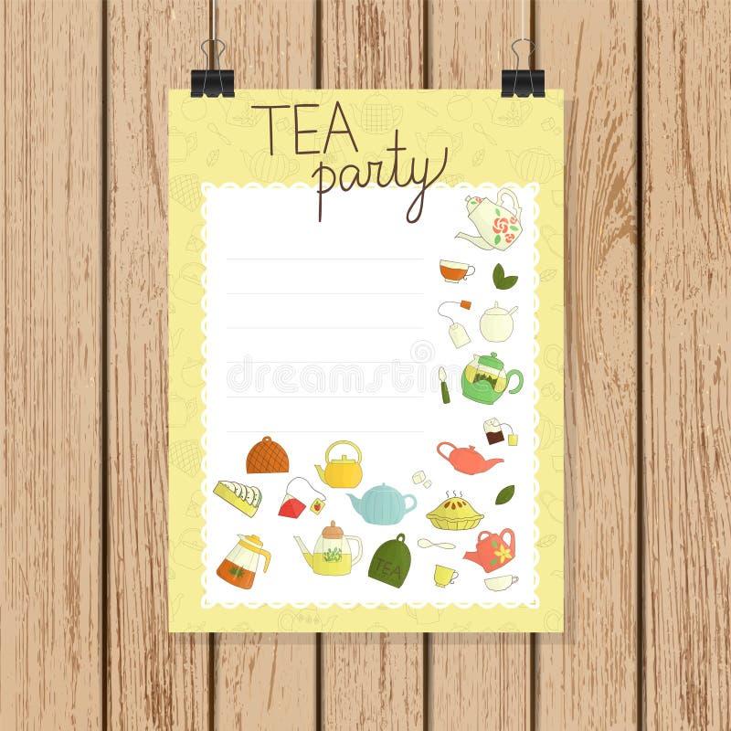 Приглашение или знамя чаепития в стиле doodle иллюстрация вектора