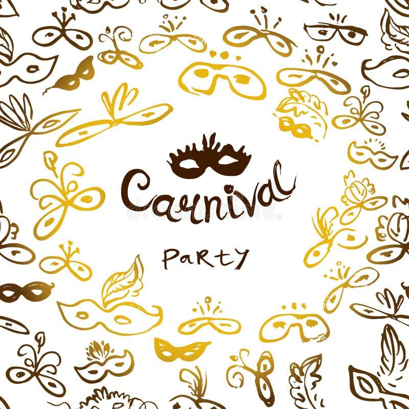 1 приглашение карточки Надпись партии масленицы в рамке покрашенных маск Красивые маски шнурка бесплатная иллюстрация