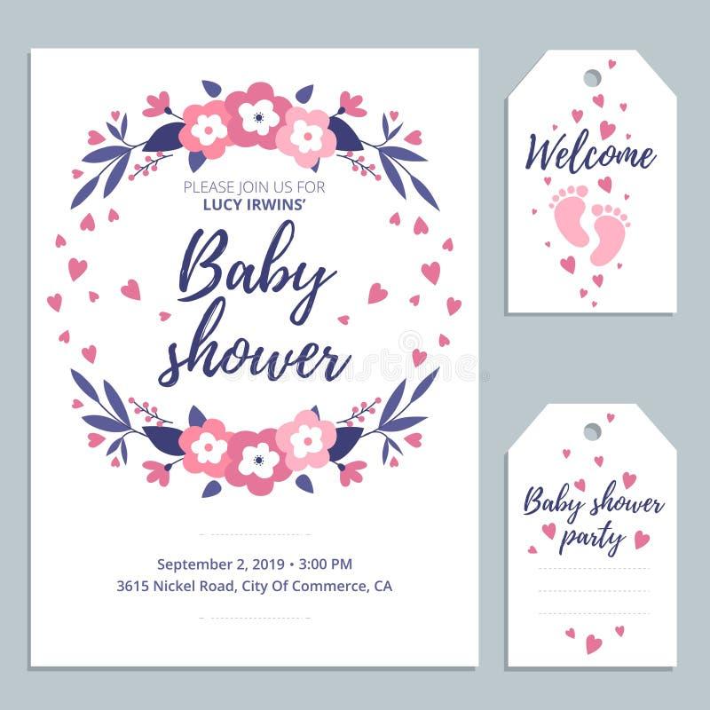 Приглашение карты младенца добро пожаловать милое со следами ноги литерности и младенца Дизайн карты детского душа r иллюстрация вектора