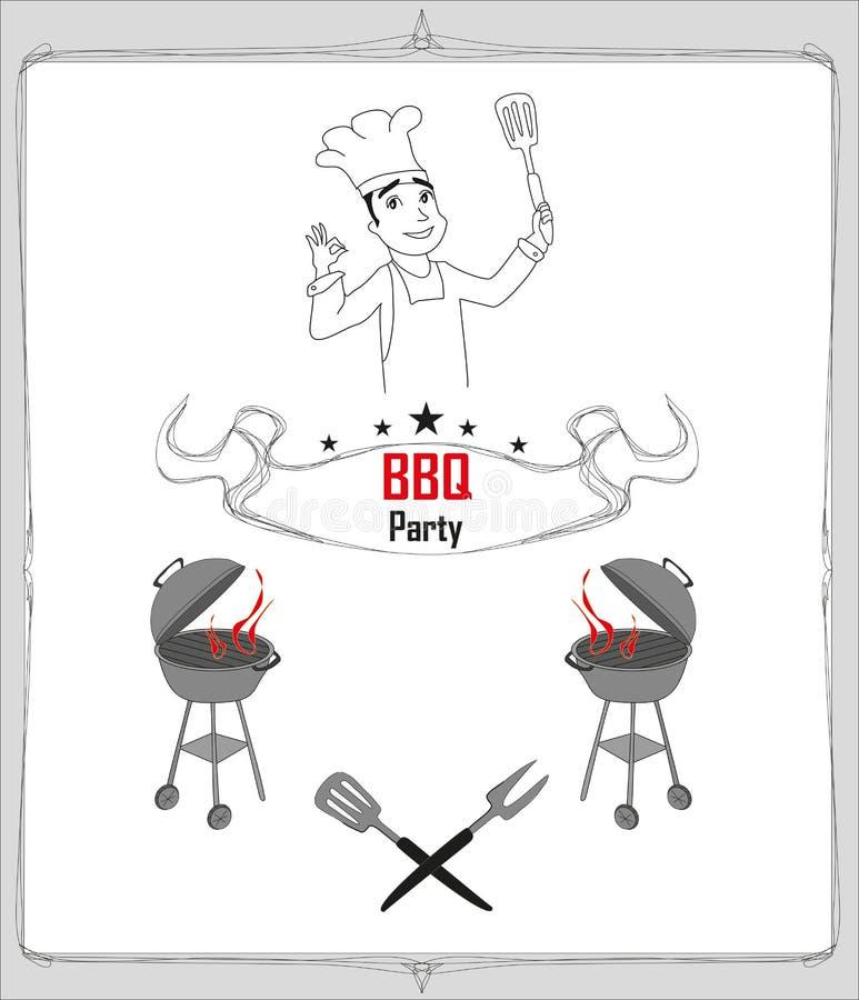 Приглашение к партии bbq иллюстрация штока