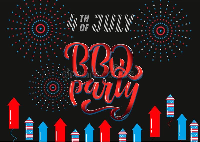 Приглашение литерности партии BBQ 4-ое июля к американскому барбекю Дня независимости со звездами украшений 4-ое июля, флагами, ф иллюстрация штока